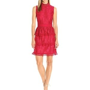 CeCe Red Tiered Lace Mock Neck Sheath Dress